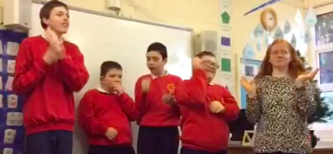 Class 5 singing and signing